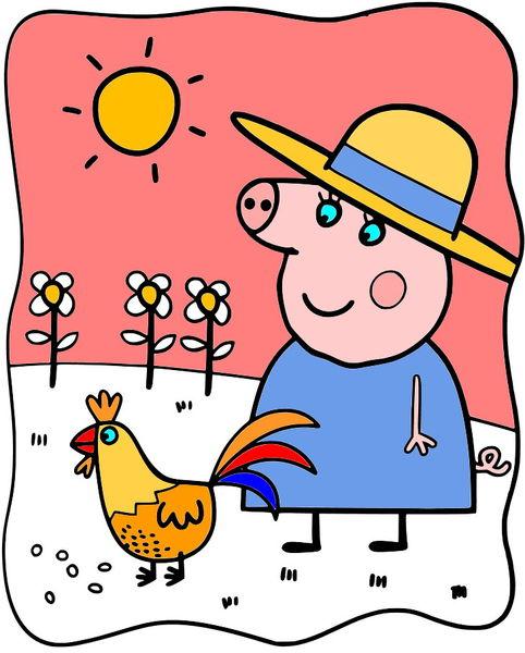 Онлайн раскраска Свинка Пеппа, 2 картинки - за городом