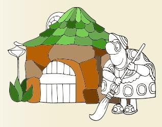 Онлайн раскраска: черепаха тётя Мотя из Лунтика